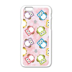 Owl Bird Cute Pattern Apple Iphone 6/6s White Enamel Case by Nexatart
