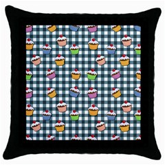 Cupcakes Plaid Pattern Throw Pillow Case (black) by Valentinaart