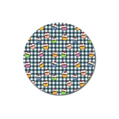 Cupcakes Plaid Pattern Magnet 3  (round) by Valentinaart