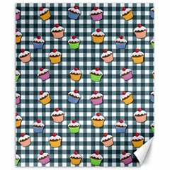 Cupcakes Plaid Pattern Canvas 20  X 24   by Valentinaart