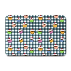 Cupcakes Plaid Pattern Small Doormat  by Valentinaart