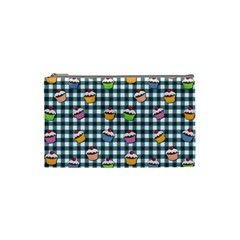 Cupcakes Plaid Pattern Cosmetic Bag (small)  by Valentinaart