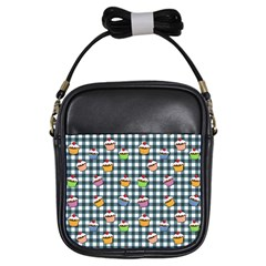 Cupcakes Plaid Pattern Girls Sling Bags