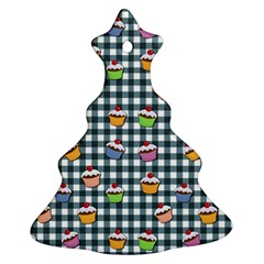 Cupcakes Plaid Pattern Christmas Tree Ornament (two Sides) by Valentinaart