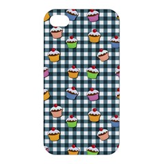 Cupcakes Plaid Pattern Apple Iphone 4/4s Premium Hardshell Case by Valentinaart