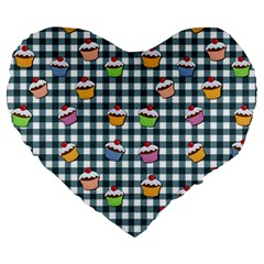Cupcakes Plaid Pattern Large 19  Premium Flano Heart Shape Cushions by Valentinaart