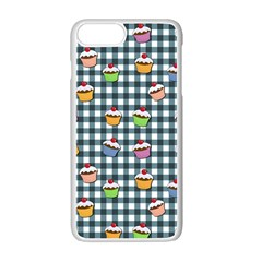Cupcakes Plaid Pattern Apple Iphone 7 Plus White Seamless Case by Valentinaart