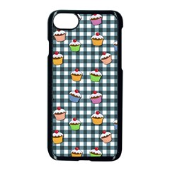 Cupcakes Plaid Pattern Apple Iphone 7 Seamless Case (black) by Valentinaart