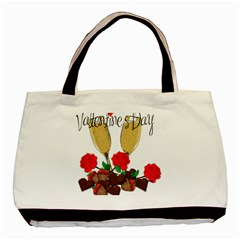 Valentine s Day Romantic Design Basic Tote Bag (two Sides) by Valentinaart