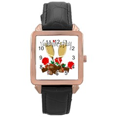 Valentine s Day Romantic Design Rose Gold Leather Watch