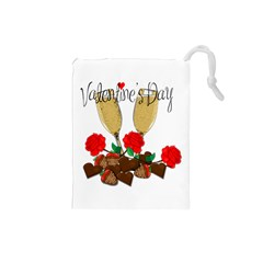 Valentine s Day Romantic Design Drawstring Pouches (small)  by Valentinaart