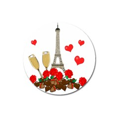 Romance In Paris Magnet 3  (round) by Valentinaart