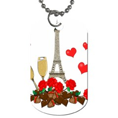 Romance In Paris Dog Tag (two Sides) by Valentinaart
