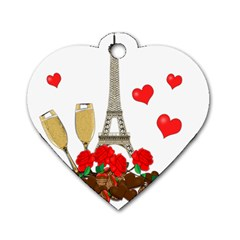 Romance In Paris Dog Tag Heart (one Side)