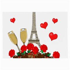 Romance In Paris Large Glasses Cloth by Valentinaart