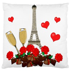 Romance In Paris Large Cushion Case (two Sides)