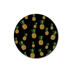 Pineapples Rubber Round Coaster (4 Pack)  by Valentinaart