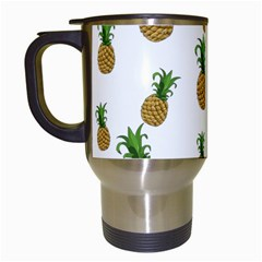Pineapples Pattern Travel Mugs (white) by Valentinaart