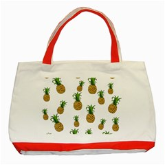 Pineapples Pattern Classic Tote Bag (red) by Valentinaart