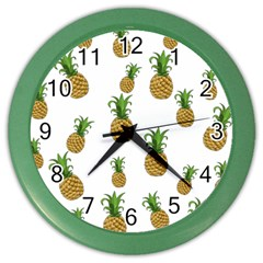 Pineapples Pattern Color Wall Clocks by Valentinaart