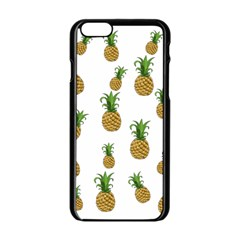 Pineapples Pattern Apple Iphone 6/6s Black Enamel Case by Valentinaart