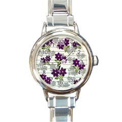 Purple Vintage Flowers Round Italian Charm Watch by Valentinaart