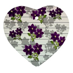 Purple Vintage Flowers Ornament (heart) by Valentinaart