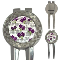 Purple Vintage Flowers 3 In 1 Golf Divots by Valentinaart