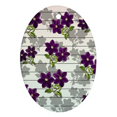 Purple Vintage Flowers Oval Ornament (two Sides) by Valentinaart
