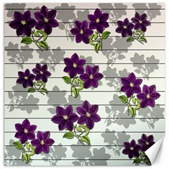 Purple Vintage Flowers Canvas 16  X 16