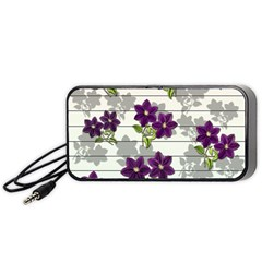 Purple Vintage Flowers Portable Speaker (black) by Valentinaart