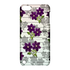 Purple Vintage Flowers Apple Ipod Touch 5 Hardshell Case With Stand