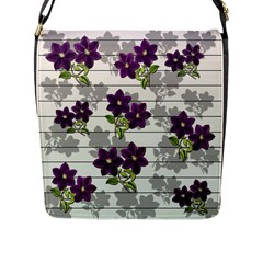 Purple Vintage Flowers Flap Messenger Bag (l)  by Valentinaart