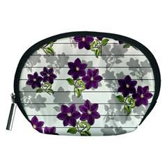 Purple Vintage Flowers Accessory Pouches (medium)  by Valentinaart