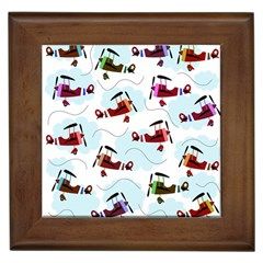 Airplanes Pattern Framed Tiles by Valentinaart