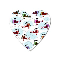 Airplanes Pattern Heart Magnet by Valentinaart