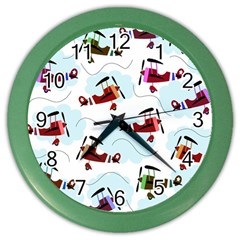 Airplanes Pattern Color Wall Clocks by Valentinaart