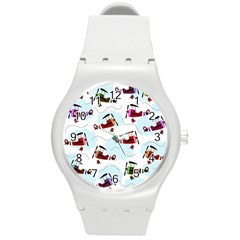 Airplanes Pattern Round Plastic Sport Watch (m) by Valentinaart