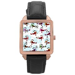Airplanes Pattern Rose Gold Leather Watch