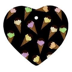 Ice Cream Cute Pattern Ornament (heart) by Valentinaart