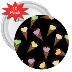 Ice Cream Cute Pattern 3  Buttons (10 Pack)  by Valentinaart