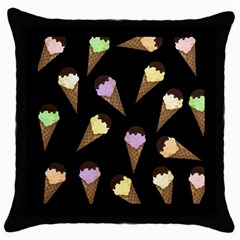Ice Cream Cute Pattern Throw Pillow Case (black) by Valentinaart