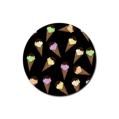 Ice Cream Cute Pattern Rubber Coaster (round)  by Valentinaart