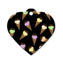 Ice Cream Cute Pattern Dog Tag Heart (one Side) by Valentinaart