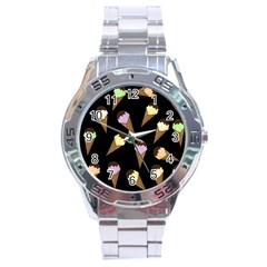 Ice Cream Cute Pattern Stainless Steel Analogue Watch by Valentinaart