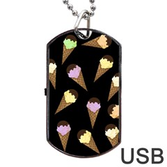 Ice Cream Cute Pattern Dog Tag Usb Flash (one Side) by Valentinaart