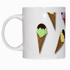 Ice Cream Pattern White Mugs by Valentinaart