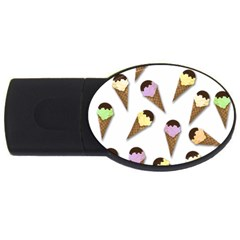 Ice Cream Pattern Usb Flash Drive Oval (4 Gb) by Valentinaart