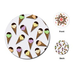 Ice Cream Pattern Playing Cards (round)  by Valentinaart