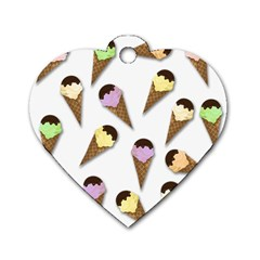 Ice Cream Pattern Dog Tag Heart (two Sides) by Valentinaart
